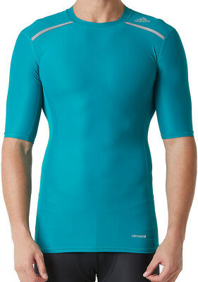 be2c90573 ADIDAS TECHFIT CHILL Mens Short Sleeve Compression Top - Green - EUR ...