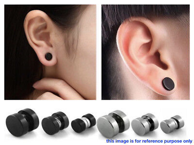 2 x Magnetic Earrings Ear Stud Mens Women's NO PIERCING Jewellery Round BLACK