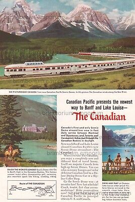 """Canadian Pacific """"THE CANADIAN"""" SCENIC DOME STREAMLINER Original Anzeige v. 1955"""