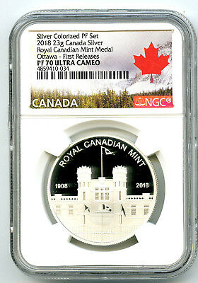 2018 23g CANADA ROYAL CANADIAN MINT OTTAWA SILVER PROOF NGC PF70 FIRST RELEASES