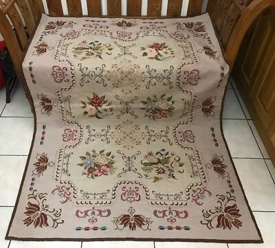 Vintage Needlepoint Hand Sewn Tapestry Wool Throw Rug Wall Hanging Embroidered