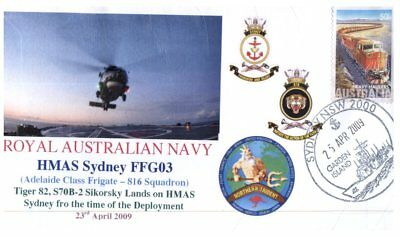 (C7) Naval cover - HMAS Sydney ANZAC Day and Sikorsky Helicopter - 2009