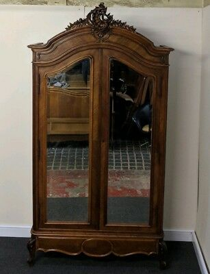 Beautiful French Louis XV Style Carved Antique Walnut Armoire