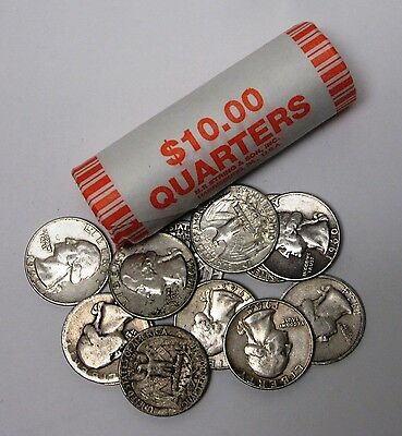 Roll of 40 Assorted, Circulated 90% Silver Washington Quarters