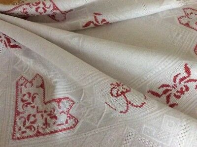 Antique Irish Etaine Linen Tablecloth or Topper w/ Red Work c1900