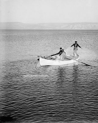 FISHERMEN ON THE SEA OF GALILEE 1939 8x10 SILVER HALIDE PHOTO PRINT