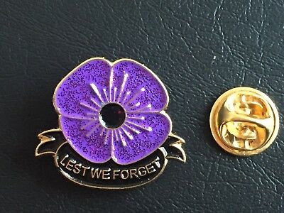 Classic Animals In World War Lest We Forget Purple Poppy Enamel Pin Badge Brooch
