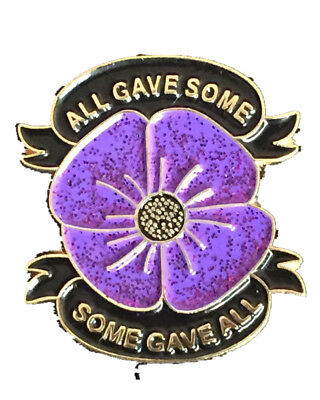 Large Animals In World War Lest We Forget Purple Poppy Enamel Pin Badge Brooch