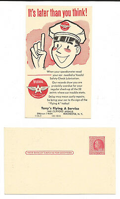 """(2) Veedol Flying """"a"""" Lubrication - Post Cards - Rochester, Ny - Vintage"""