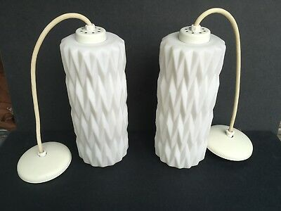 PAIR Vtg Mid Century Modern White Oblong Glass Globe Hanging Pendant Lights