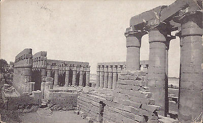 Africa Egypt old PC Luxor Temple Papyrus Columns post card real photo 2 stamps