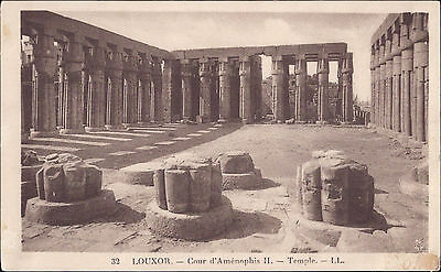 Africa Egypt old PC Luxor Temple Court of Amenhotep II post card real photo