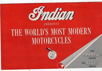 Vintage Indian Motorcycle Brochure, The Arrow & Scout Series