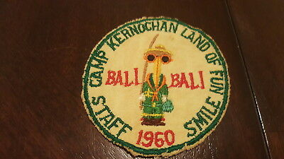 BSA, 1960 Camp Kernochan Bali Bali Staff Patch, Ten Mile River Scout Camps