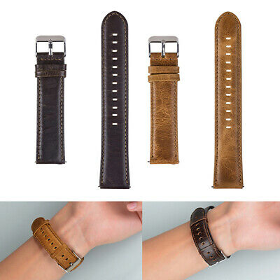 Faux Crazy Horse Leather Watch Strap Band Metal Buckle For Samsung Gear S3 22mm
