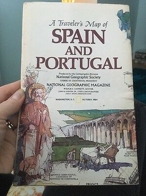 National Geographic Magazine Society Spain & Portugal Travelers Map 1984