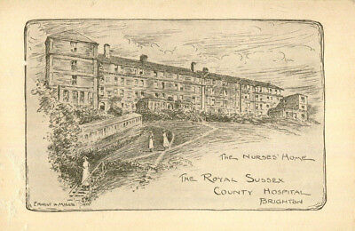 original 1935 Nurses Home Royal Sussex County Hospital Brighton Christmas card