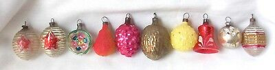 Small Antique Feather Tree Glass Christmas Ornaments German & More Vtg Figural