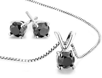 AAA Black Diamond Solitaire Stud Earring &Necklace 2.0 Ct in Sterling Silver