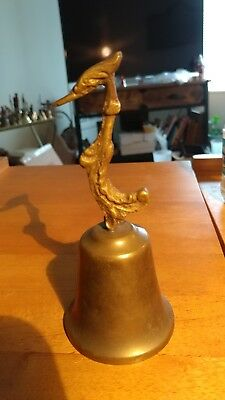 Vintage Brass Bell With Bird finial