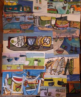 Large Collection Of 16 Abstract/harbour/boat Studies - Newlyn/st Ives Harbours