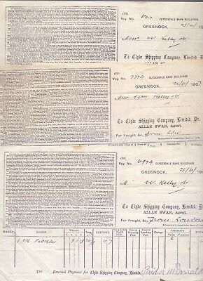 3 Receipts,The Clyde Shipping Company Limited Alan Swan,Greenock 1906-7  (RB1)