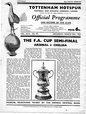 1952 FA CUP SEMI-FINAL.ARSENAL v CHELSEA.FIRST MATCH + REPLAY (WITH INSERT) VGC