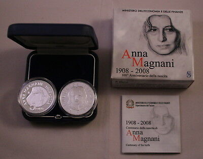 5 Euro Silber Italien 2008 Anna Magnani In Pp