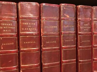 Life and Works of Charlotte Bronte and Her Sisters LEATHER 7 VOLUMES ELDER 1900