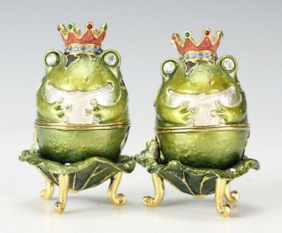 2 Bejeweled Green Enamel Gold Gilt Frog Prince on Lily Pad Hinged Trinket Boxes