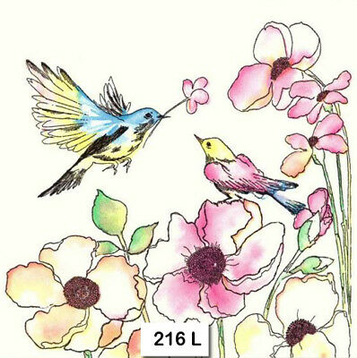 BIRD SPRING PINK BLOSSOMS TWO Individual Paper Luncheon Decoupage Napkin 587