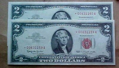 Two High Grade $2 1963 Red Seal Star Notes  * 00631159A 60A Appears Uncirculated