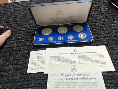 1975 Coinage Of The PHILIPPINES MINT 8 Coin Proof Set In Box & COA - #16