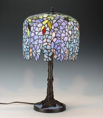 Leaded Stained Glass Wisteria Floral Shade w/ Art Nouveau Bronze Base Desk Lamp