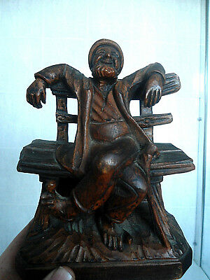 Superb Carved Antique German Wooden Folk Art Black Forest Carving Figure Bench