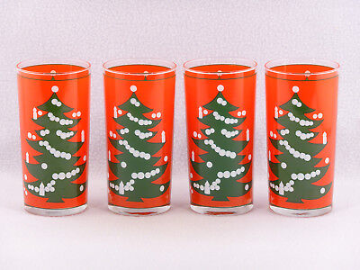 Waechtersbach Christmas Tree Red Germany Highball Tumbler Glasses - Set of 4