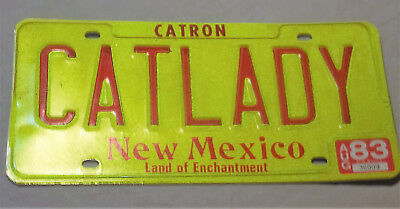 Vintage License Plate CATLADY New Mexico