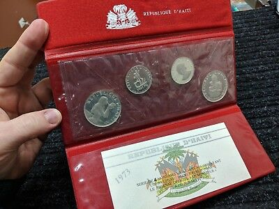 1973 HAITI 4-Coin Silver Proof Set Original Wallet Packaging, 25 & 50 Gour - #27
