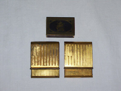 Vintage Lot of 2 Metal Gold Toned Match Book Holders and small Matchbox holder