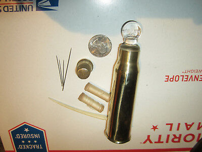 Very Neat Hand Made Unusual Sewing Kit Made From A Large Vintage Bullet Shell