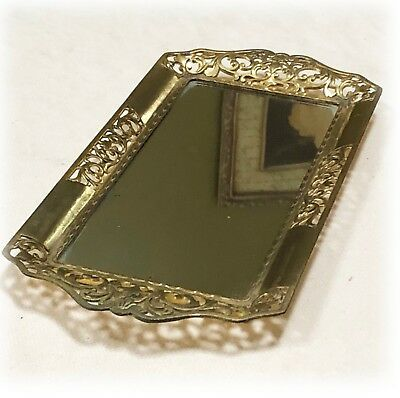 Vintage Florentine Gold Filigree Rectangle Small Mirrored Vanity Tray w/ Handles