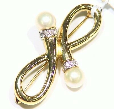 14K Gold  Natural Round White Pearl Diamond Brooch Pin Vintage Engagement Deco