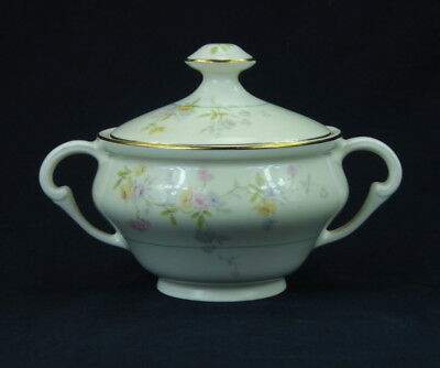 Pope Gosser Clementine Sugar Bowl With Lid Pastel Floral Cream Green Band 1126