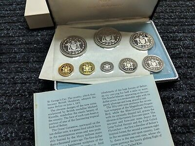 1974 Coinage of Belize Silver Proof 8 Coin Set Box Coa with 102.79 Grams Si- #44