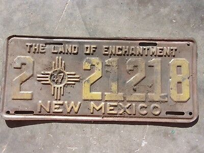 New Mexico 1947 license plate # 2 21218