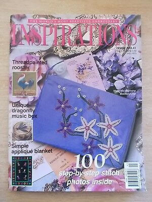 Inspirations #41~Embroidery Projects~Dragonfly~Rooster~Blanket~Beaded Purse....