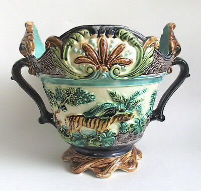 Antique MAJOLICA French Onnaing LION TIGER MONKEY Jungle JARDINIERE PLANTER Vase