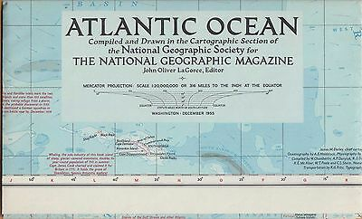 NATIONAL GEOGRAPHIC MAP ~ THE ATLANTIC OCEAN ~ Dec. 1955 ~ VERY NICE CONDITION