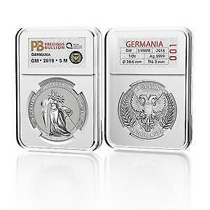 Germania 2019 5 Mark GERMANIA 1 Oz 999 Silver Coin  in New Holder #221