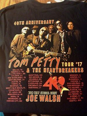 Tom Petty & Heartbreakers M 40Th Anniversary 2017 Tour Black 2 Sided Concert T
